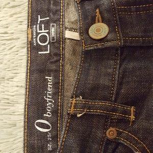 Loft size 0 25 boyfriend style distressed jeans